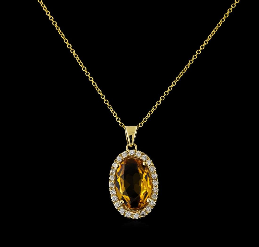 4.08 ctw Citrine and Diamond Pendant With Chain - 14KT