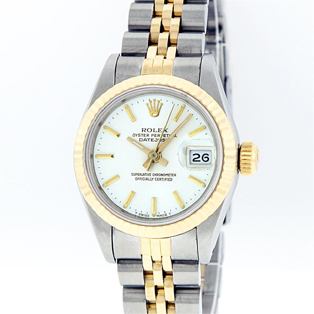 Rolex Two-Tone White Index Fluted Bezel DateJust Ladies