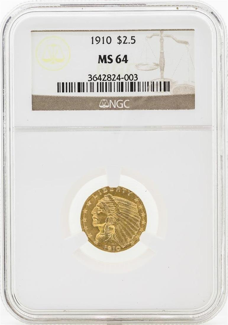 1910 $2 1/2 Indian Head Quarter Eagle Gold Coin NGC