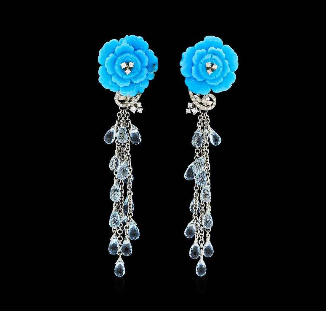 14.00 ctw Blue Topaz, Turquoise and Diamond Earrings -