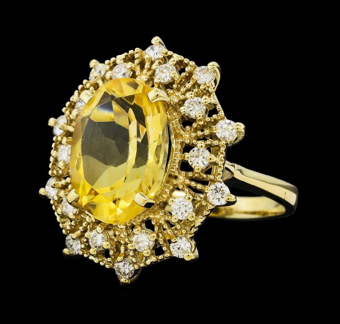 5.62 ctw Citrine Quartz  and Diamond Ring - 14KT Yellow