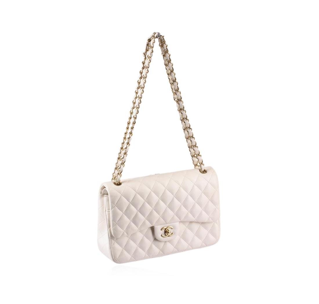 100% Authentic Chanel Flap Bag Jumbo White Lambskin - 2