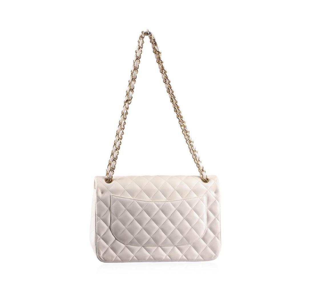100% Authentic Chanel Flap Bag Jumbo White Lambskin - 4