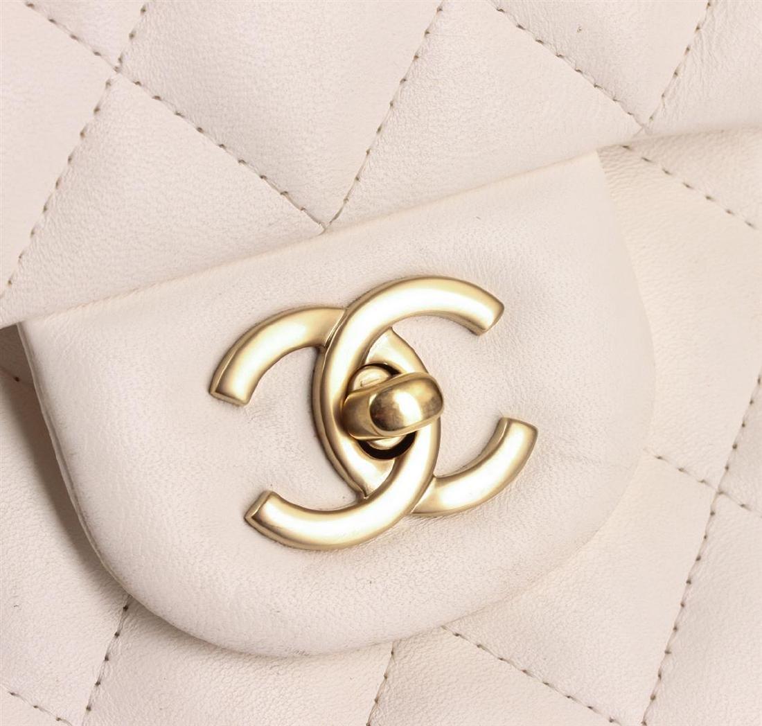 100% Authentic Chanel Flap Bag Jumbo White Lambskin - 5