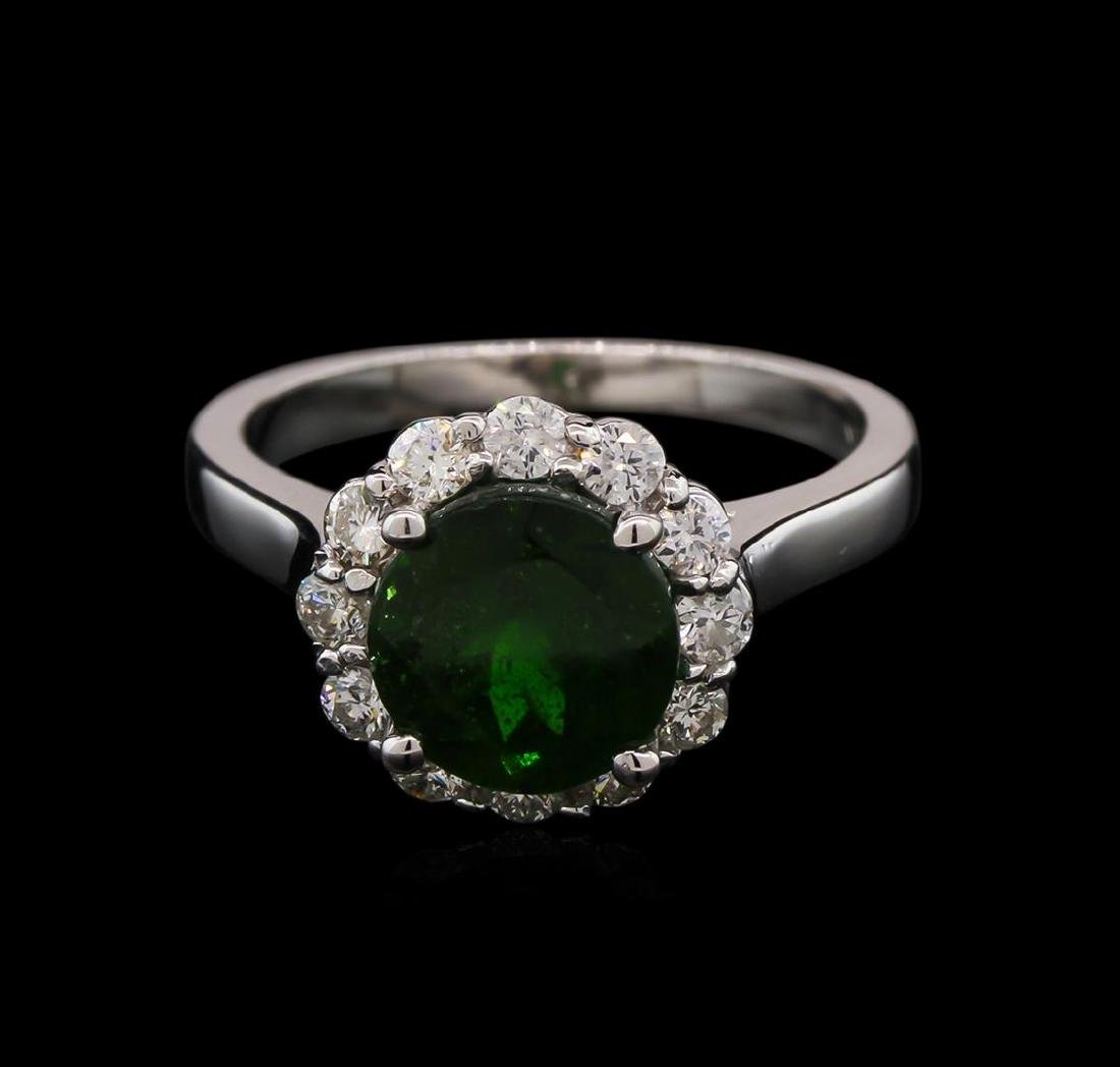 2.45 ctw Green Tourmaline and Diamond Ring - 14KT White