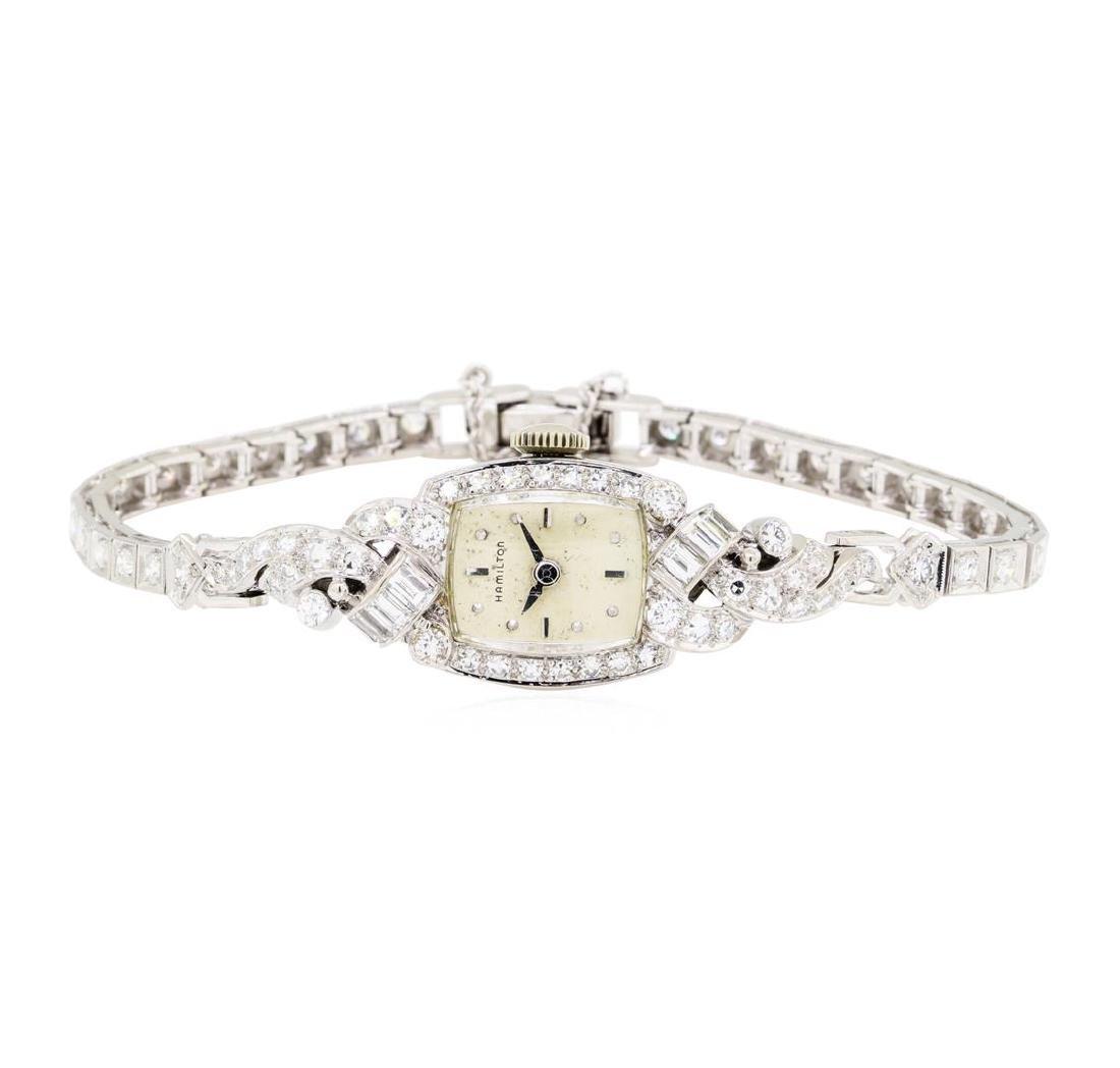2.10 ctw Diamond Hamilton Lady's Wrist Watch - Platinum