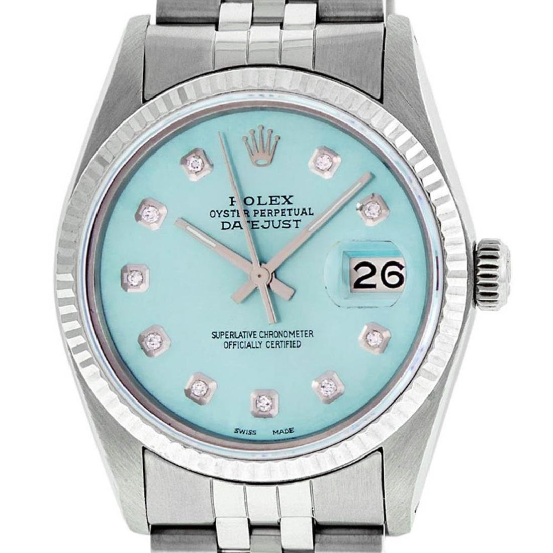 Rolex Mens 36mm Stainless Steel Ice Blue Diamond