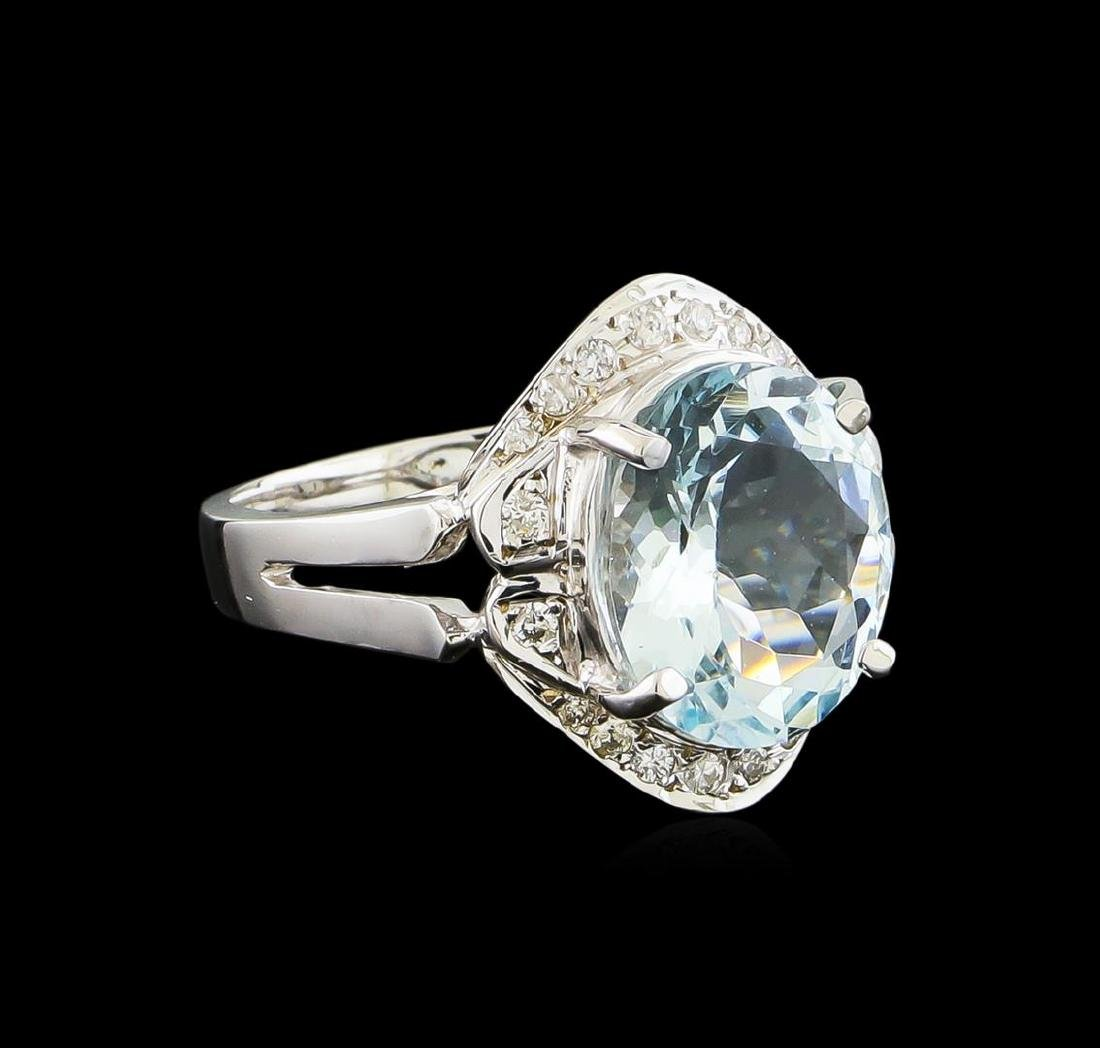 3.85 ctw Aquamarine and Diamond Ring - 14KT White Gold