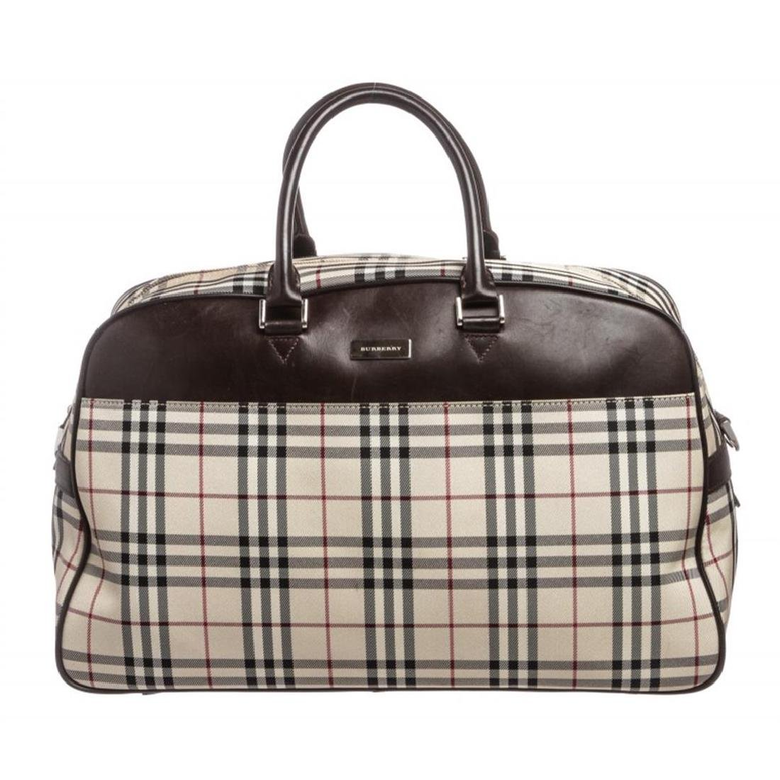 Burberry Nova Check Fabric Brown Leather Travel Duffle