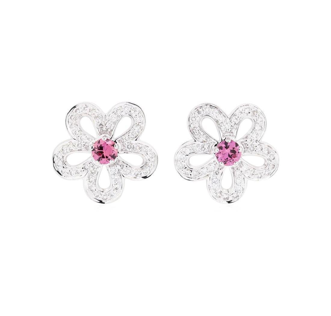 0.80 ctw Pink Sapphire And Diamond Earrings - 14KT