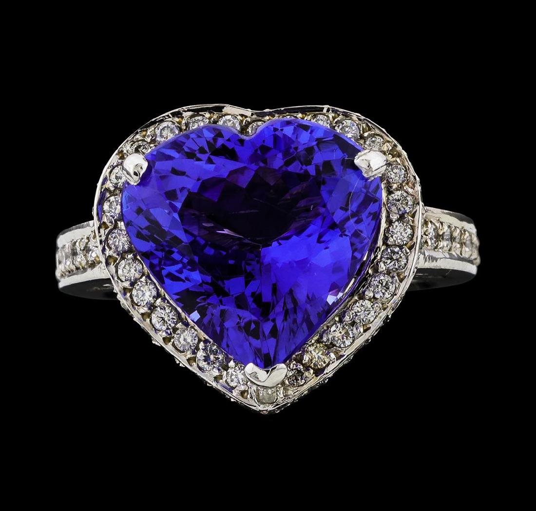 GIA Cert 7.72 ctw Tanzanite and Diamond Ring - 14KT