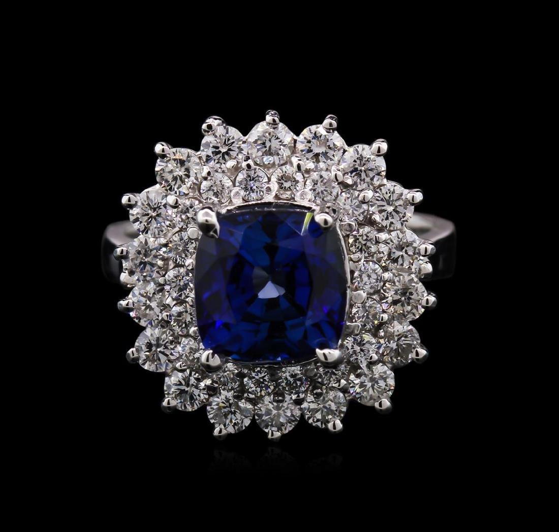 2.80 ctw Tanzanite and Diamond Ring - 14KT White Gold