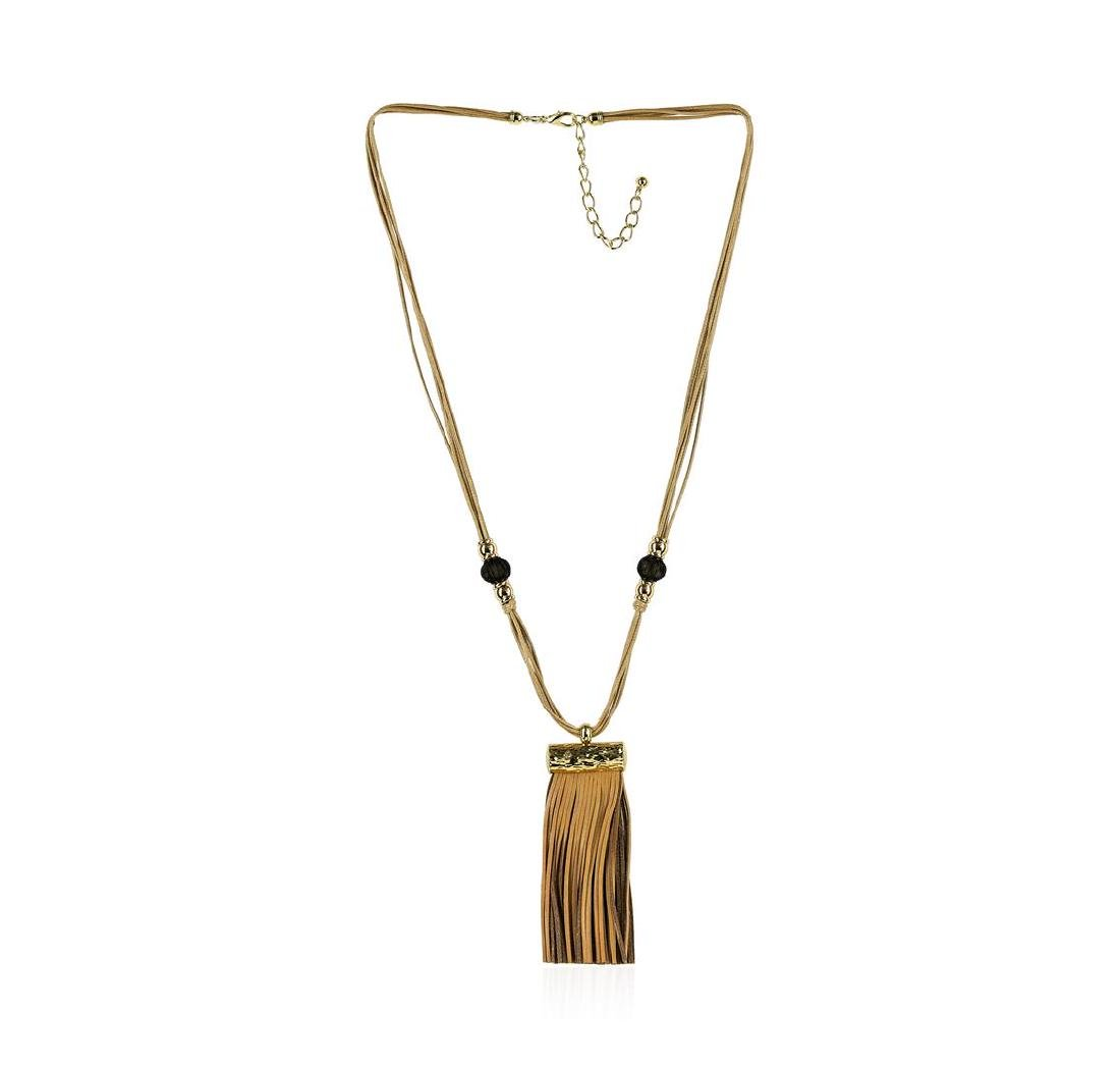Bamboo Leather Tassel Necklace - Gold Plated