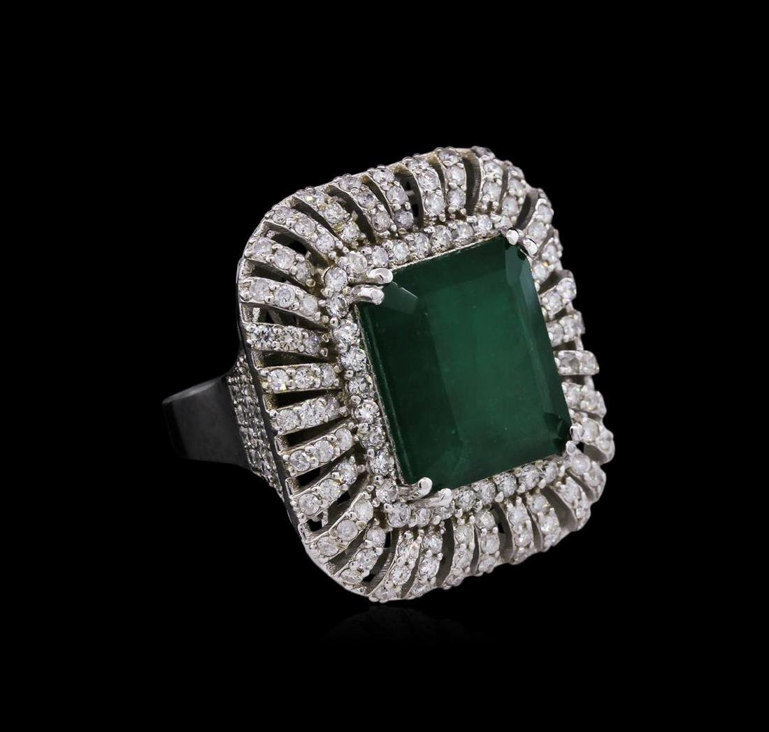14KT White Gold 12.25 ctw Emerald and Diamond Ring