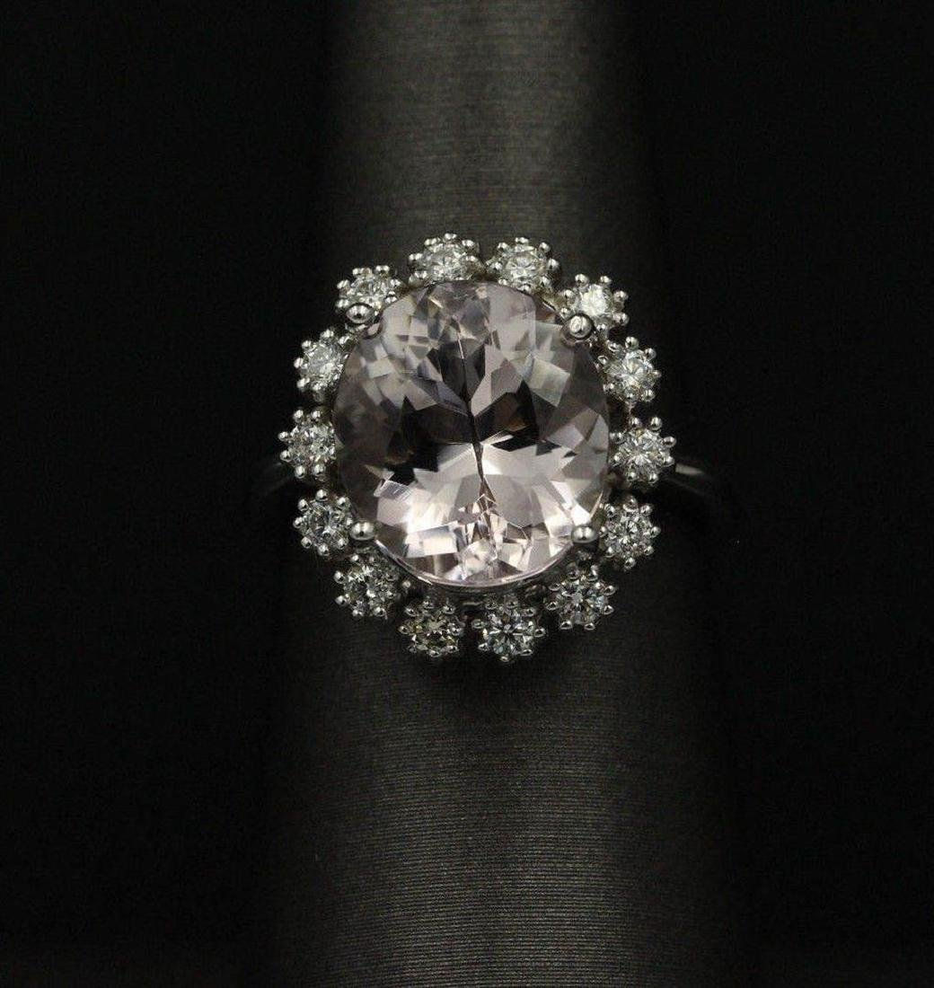 5.18 ctw Morganite and Diamond Ring - 14KT White Gold