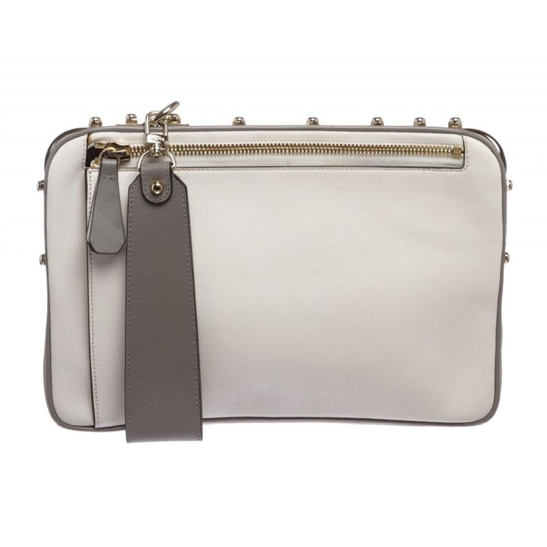 MCM White and Gray Leather Two Tone Cubism Medium