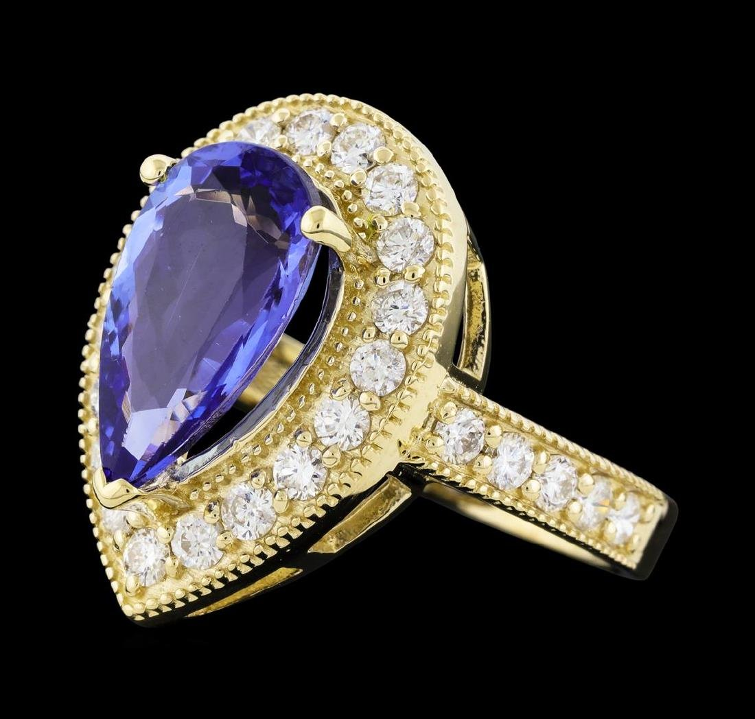 4.05 ctw Tanzanite and Diamond Ring - 14KT Yellow Gold