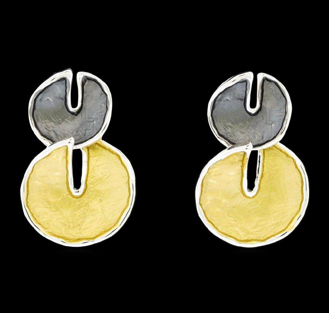 Double Circle Dangle Earrings - Rhodium Plated