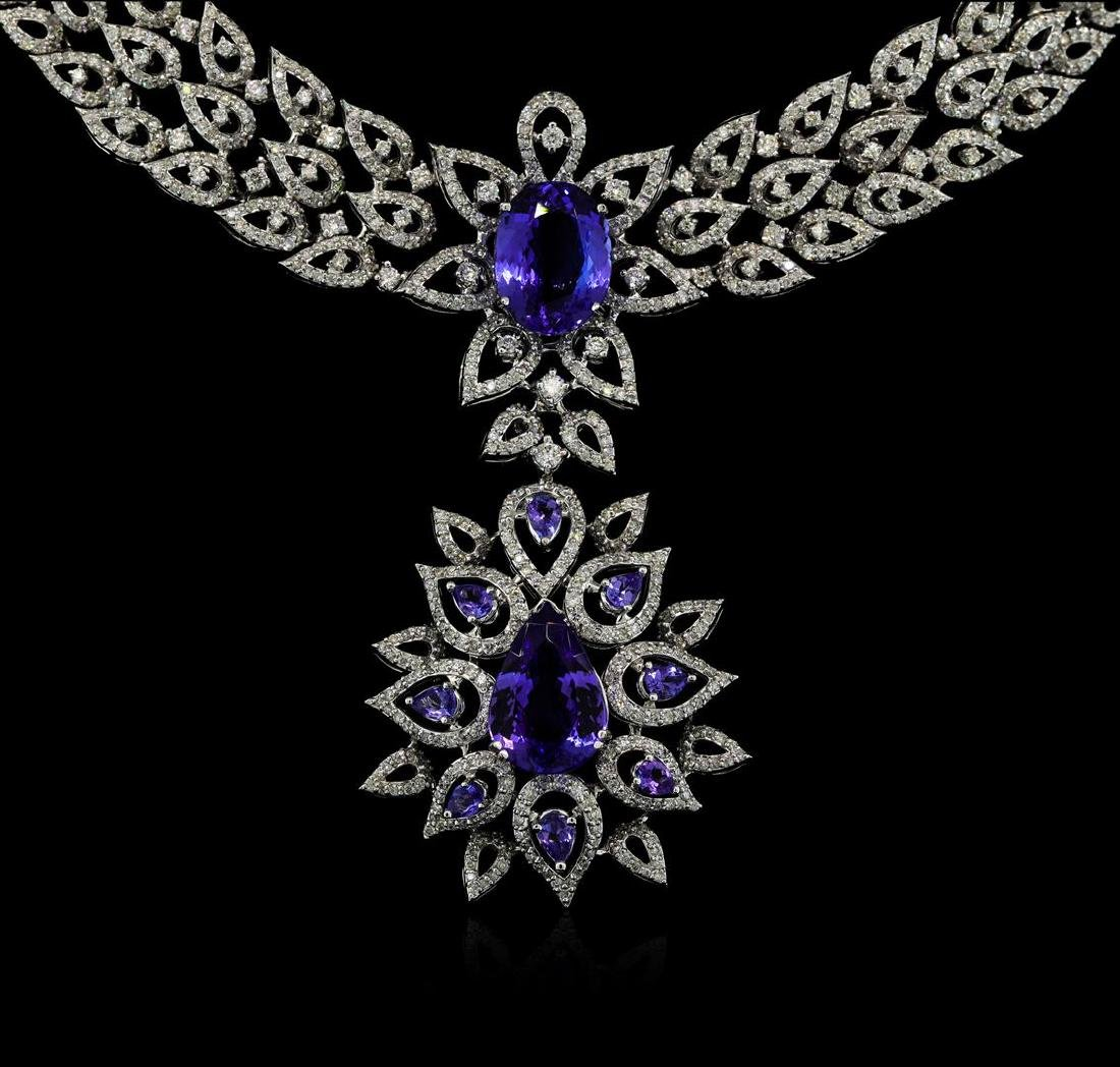 GIA Cert 22.54 ctw Tanzanite and Diamond Suite - 18KT