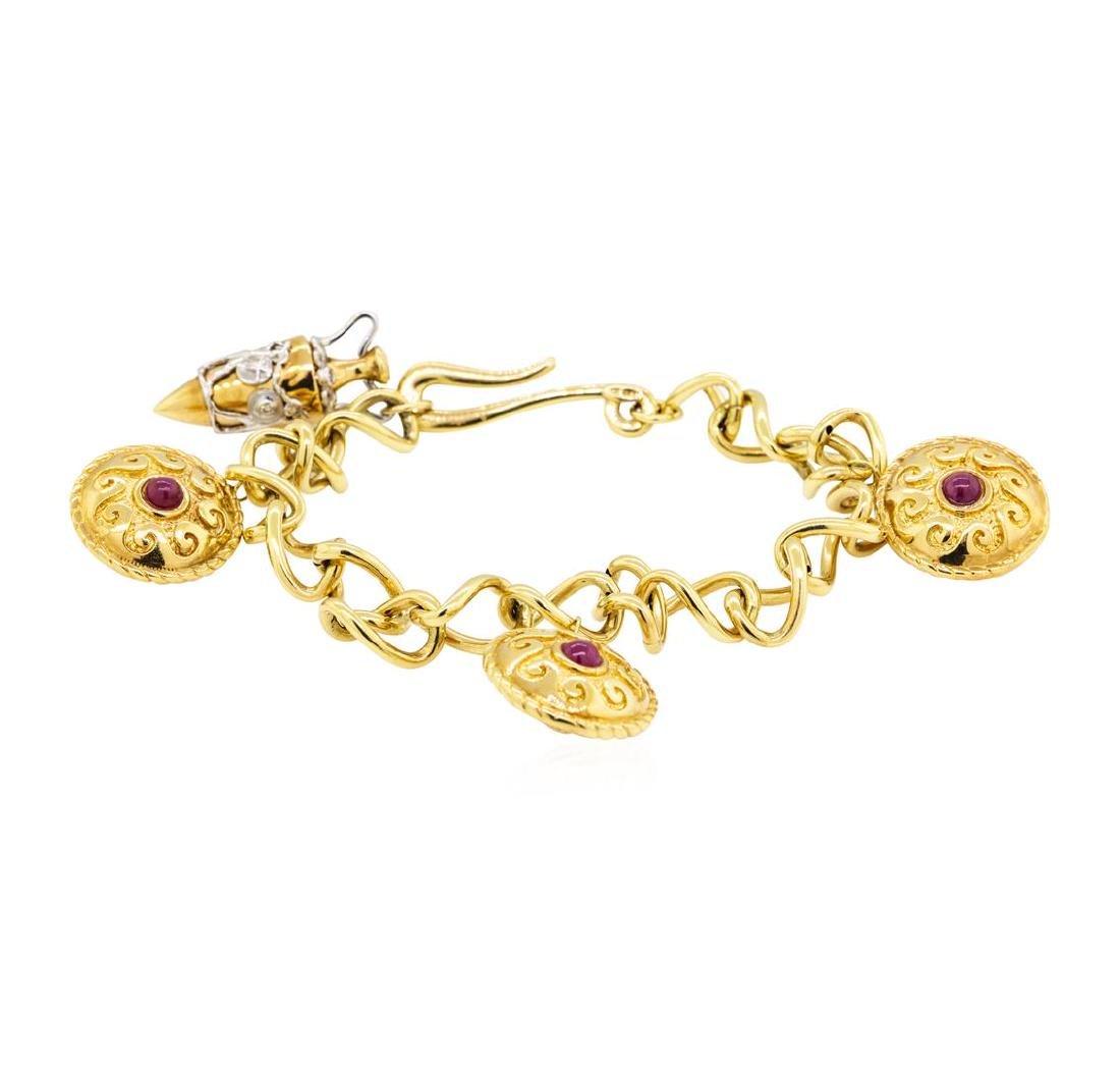 Diamond and Ruby Greek Motif Bracelet - 14KT Yellow