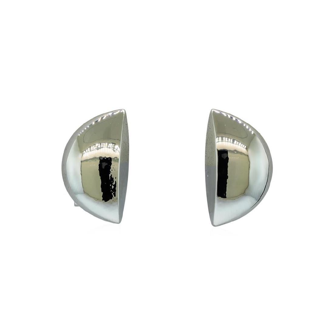Half Moon Satin Earrings - Rhodium Plated