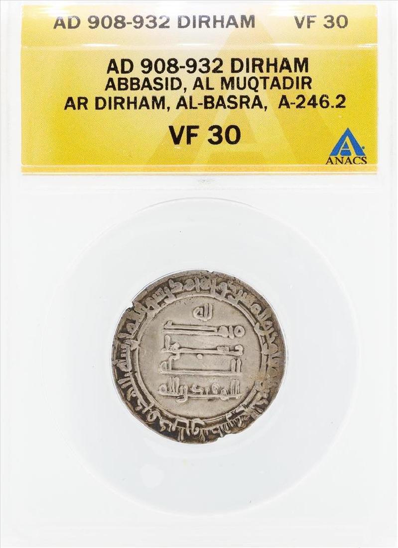 AD 908-932 Dirham Abbasid AL Muqtadir AL Basra Coin