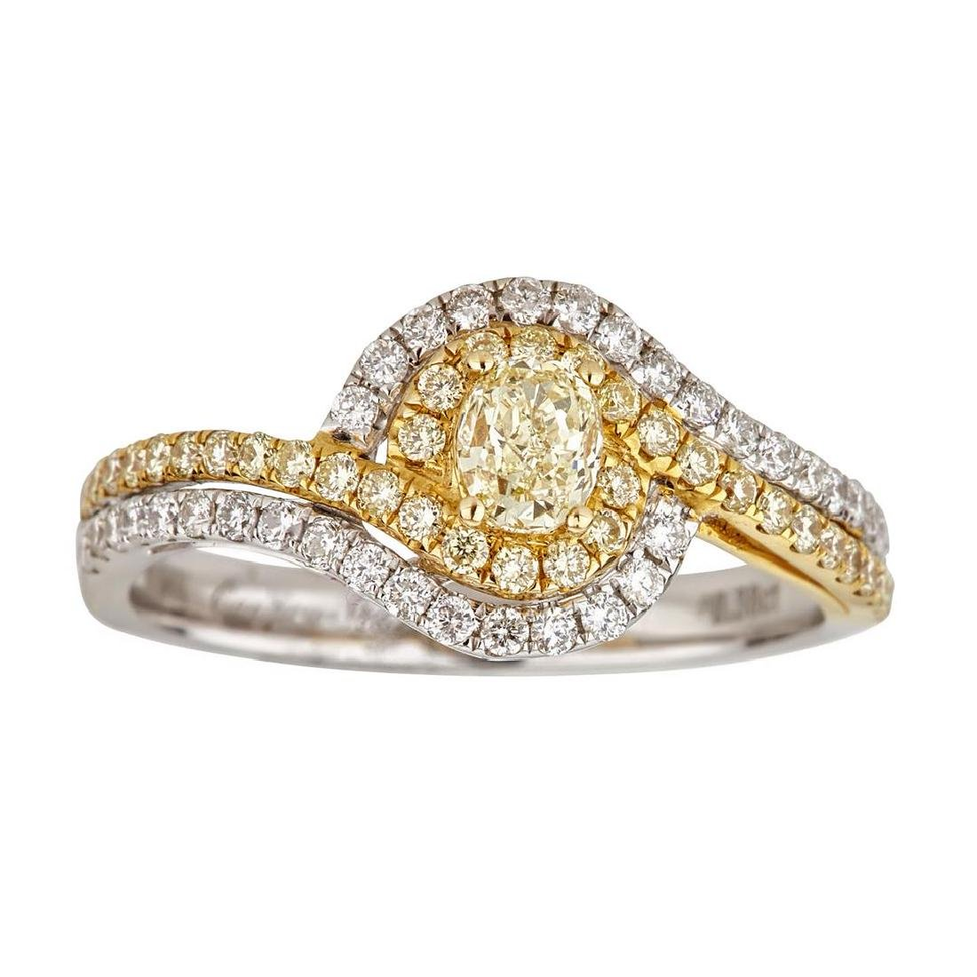 0.93 ctw Yellow and White Diamond Ring - 18KT White and