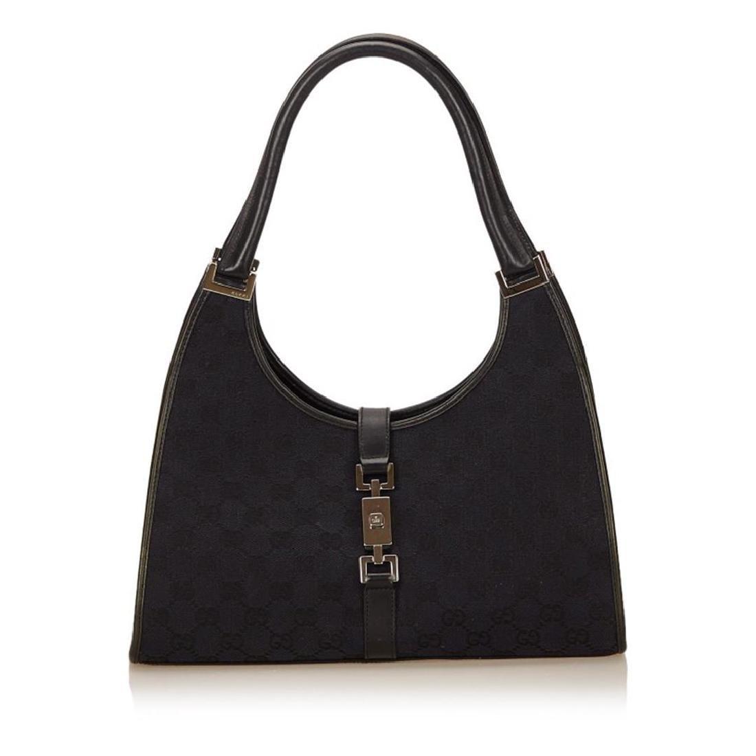 Gucci Black Canvas Jacquard Leather Trim Jackie Bag