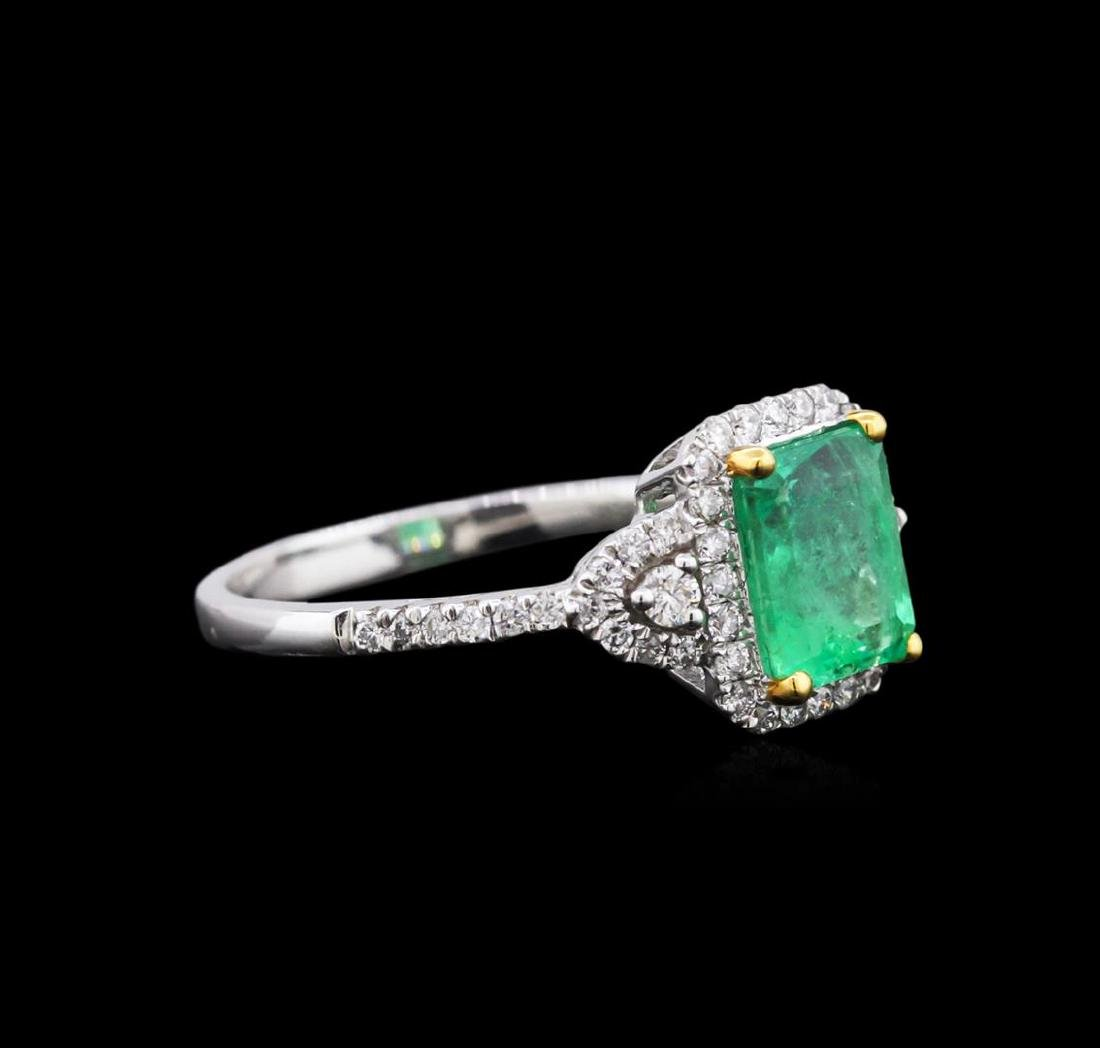 18KT White Gold 1.44 ctw Emerald and Diamond Ring