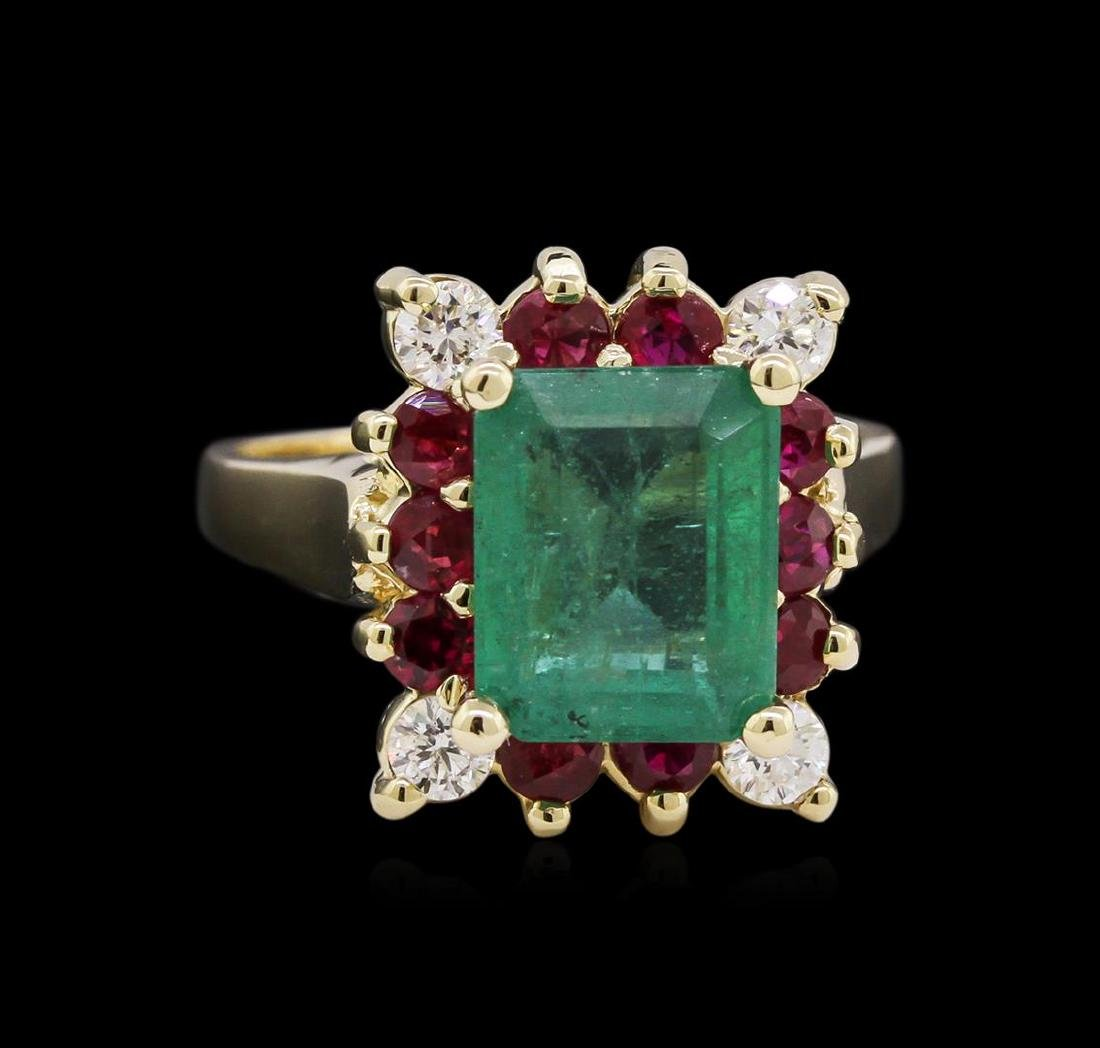 2.75 ctw Emerald, Ruby, and Diamond Ring - 14KT White