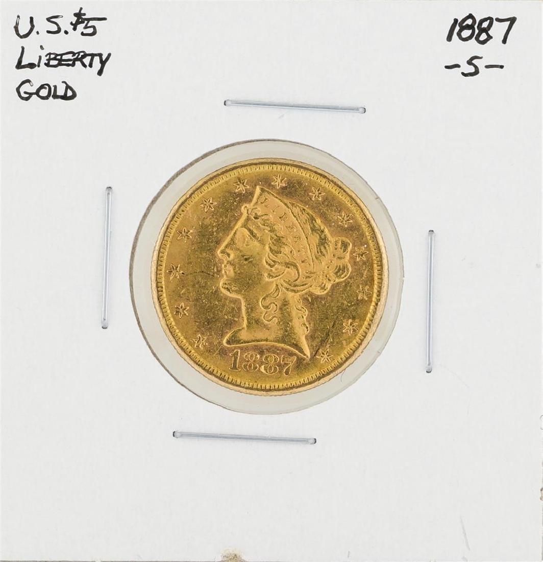 1887-S $5 Liberty Head Half Eagle Gold Coin