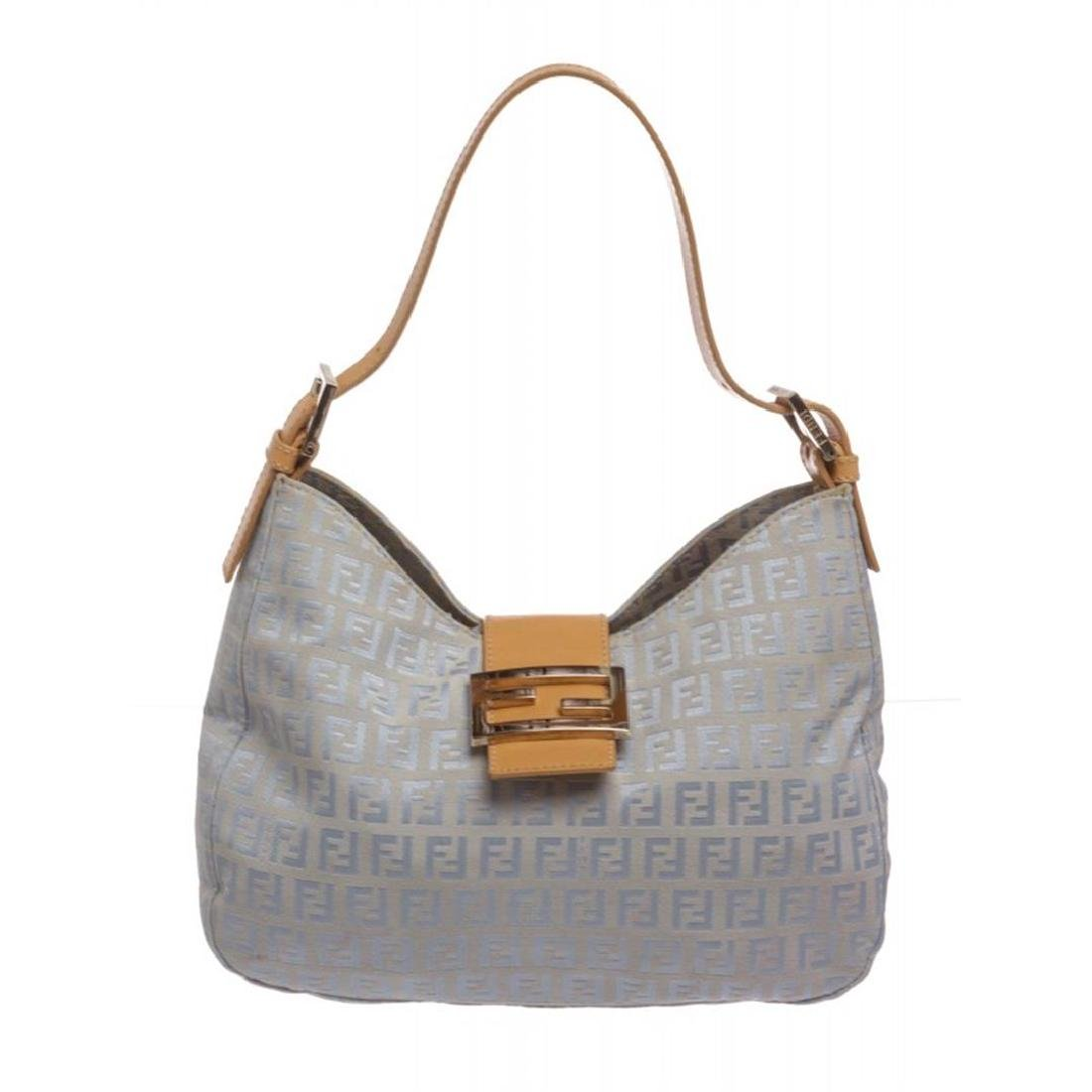 Fendi Blue Zucca Canvas Tan Leather Trim Shoulder