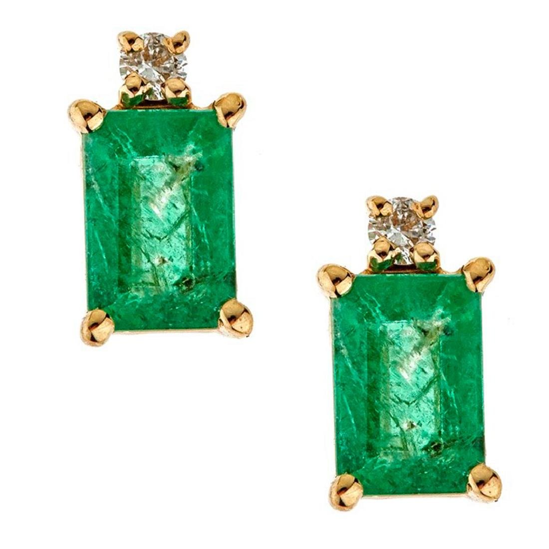 1.13 ctw Emerald and Diamond Earrings - 14KT Yellow