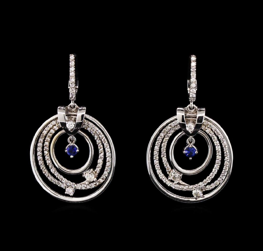0.25 ctw Sapphire and Diamond Earrings - 14KT White