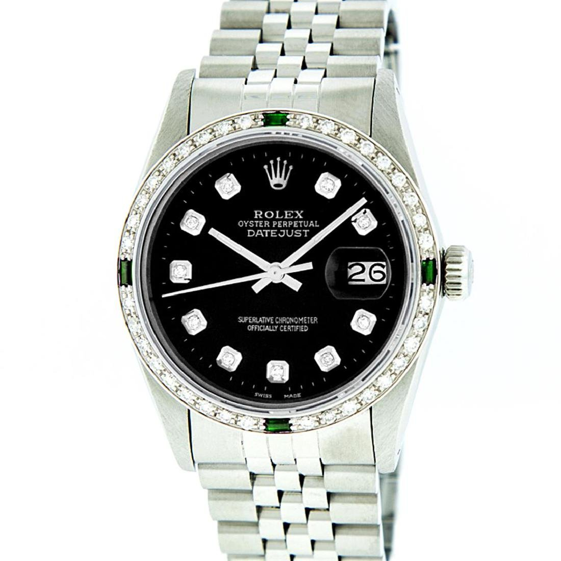 Rolex Stainless Steel Black Diamond and Emerald