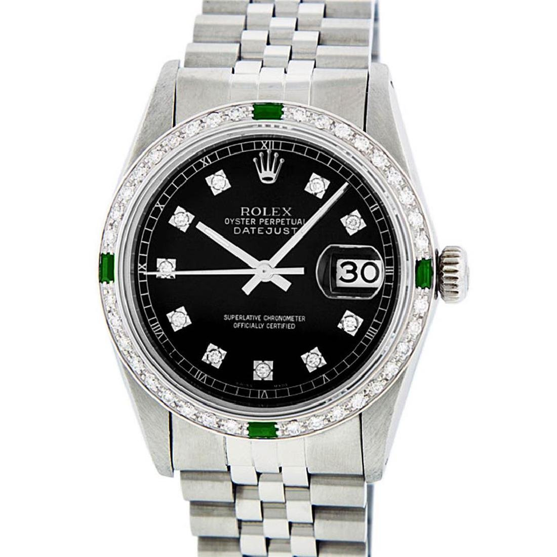 Rolex Mens Stainless Steel 1.20 Ctw Black Diamond And