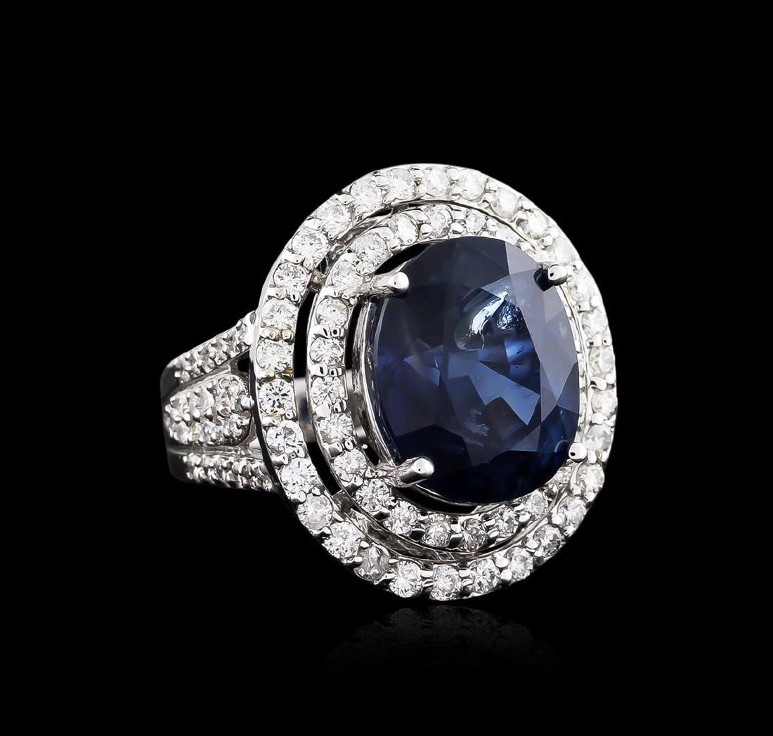 12.00 ctw Sapphire and Diamond Ring - 18KT White Gold