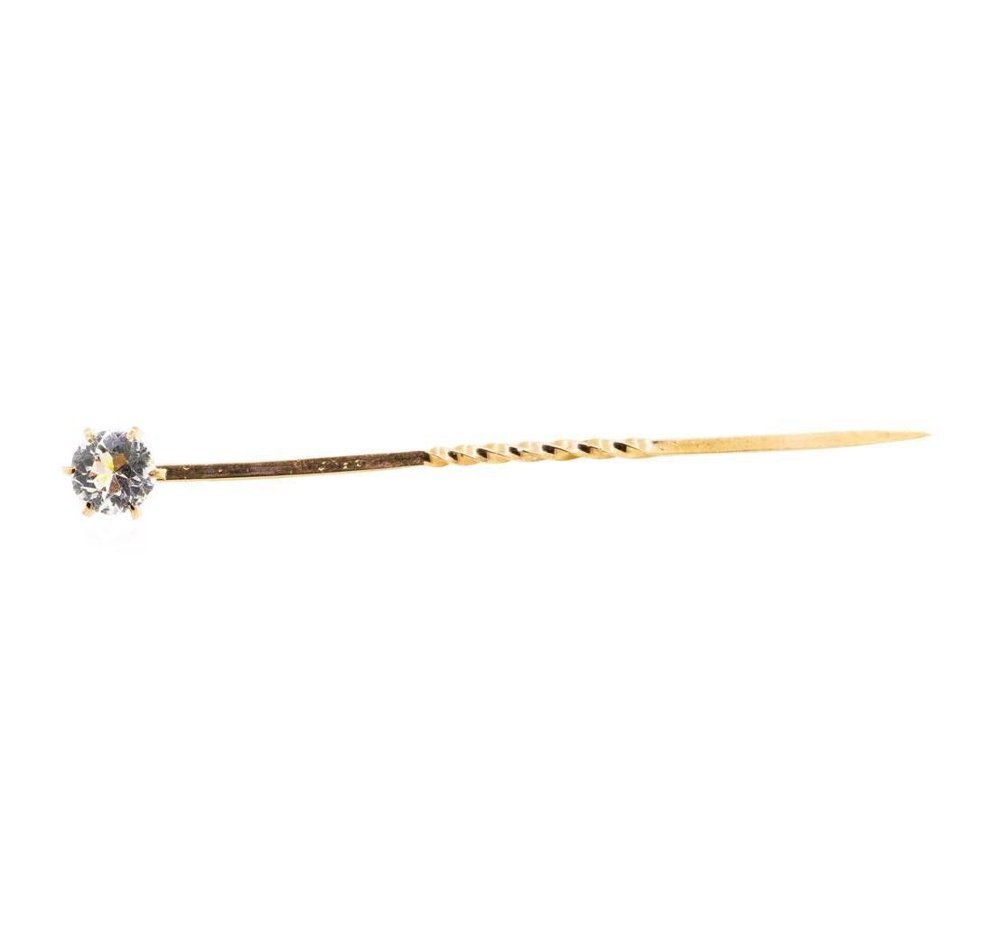 White Crystal Stick Pin - 10KT Yellow