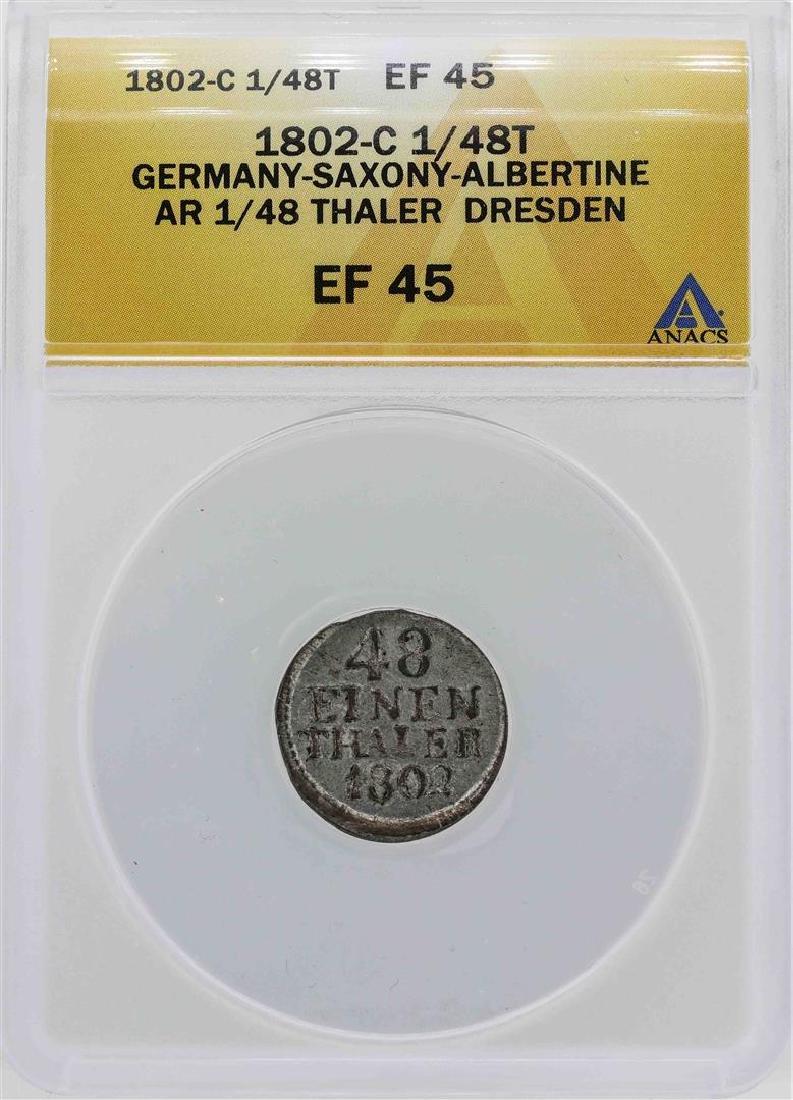 1802-C Germany-Saxony 1/48 Thaler Dresden Coin ANACS