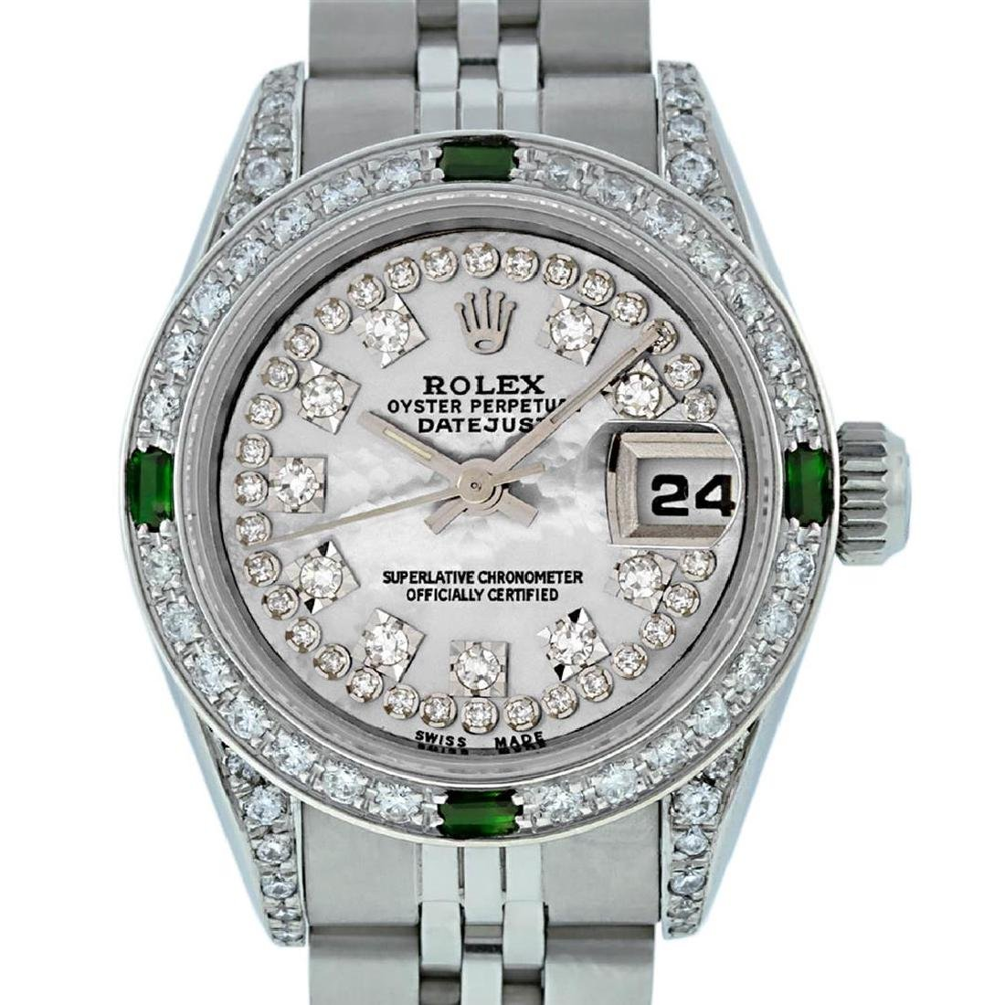 Rolex Ladies SS MOP Diamond Lugs And Emerald Datejust