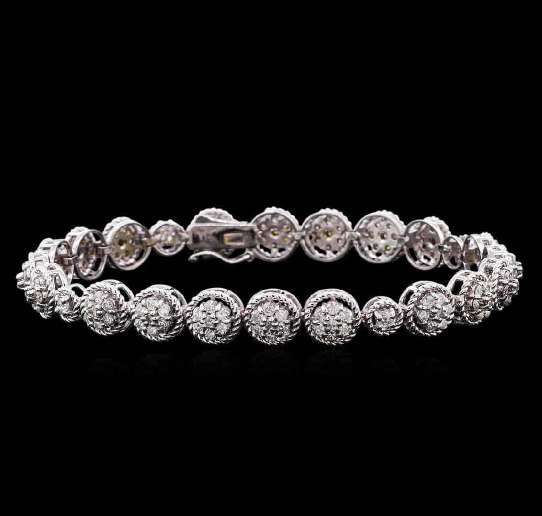 3.20 ctw Diamond Tennis Bracelet - 14KT White Gold