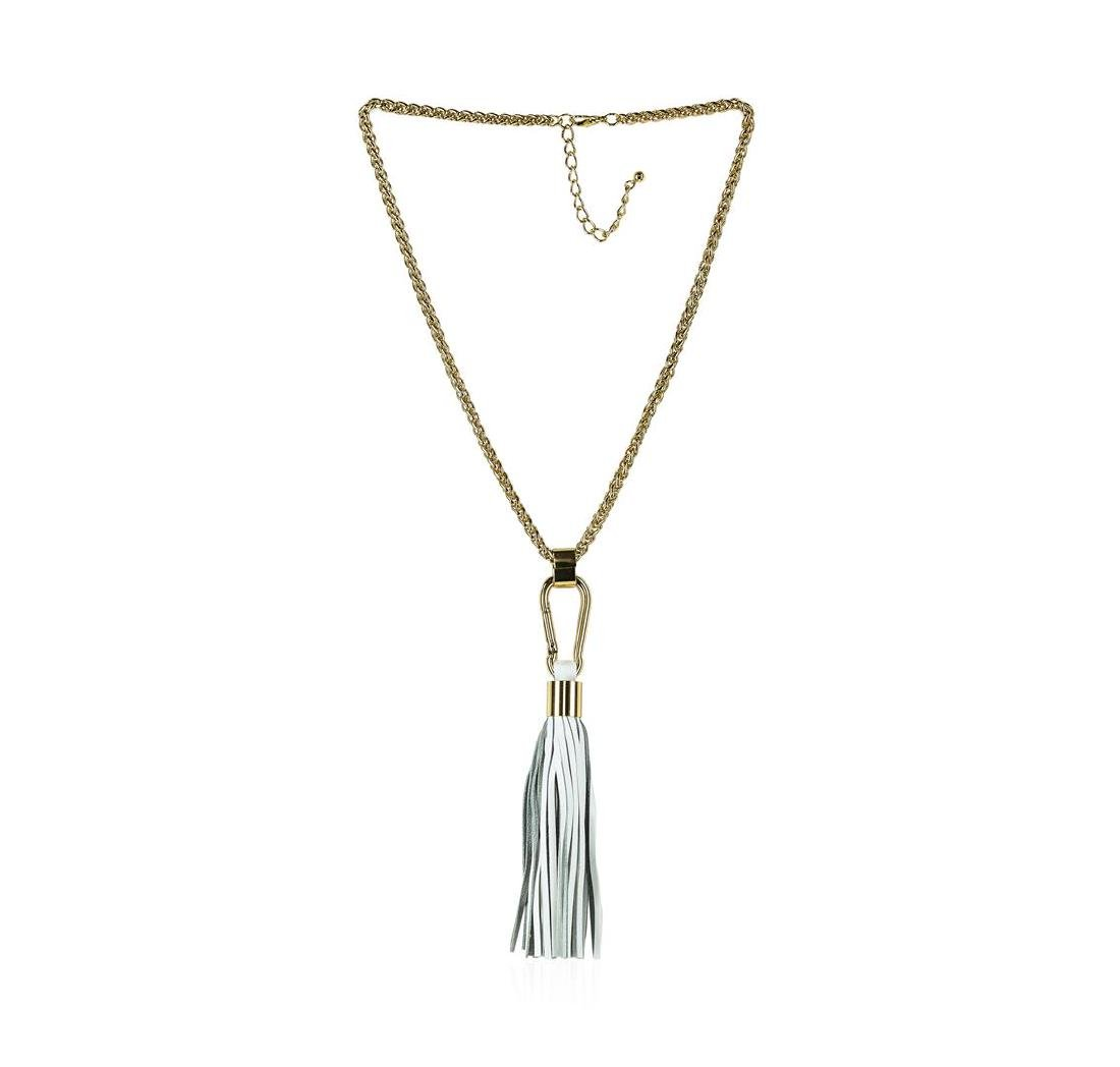 Leather Tassel Hook Pendant Necklace - Gold Plated