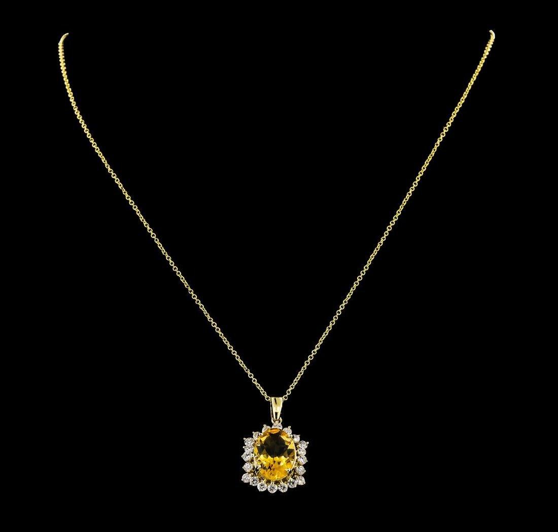 4.82 ctw Citrine Quartz and Diamond Pendant With Chain