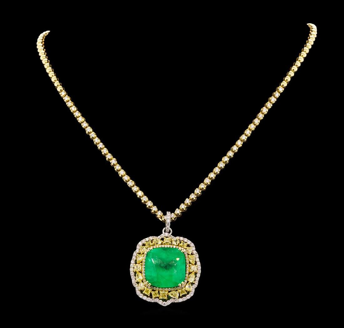 36.24 ctw Emerald and Diamond Pendant W/ Chain - 18KT