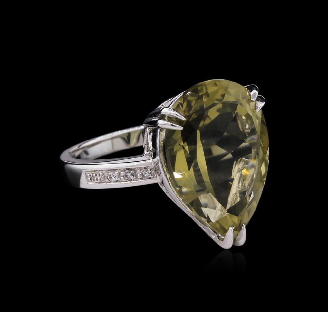 11.60 ctw Lemon Quartz and Diamond Ring - 14KT White