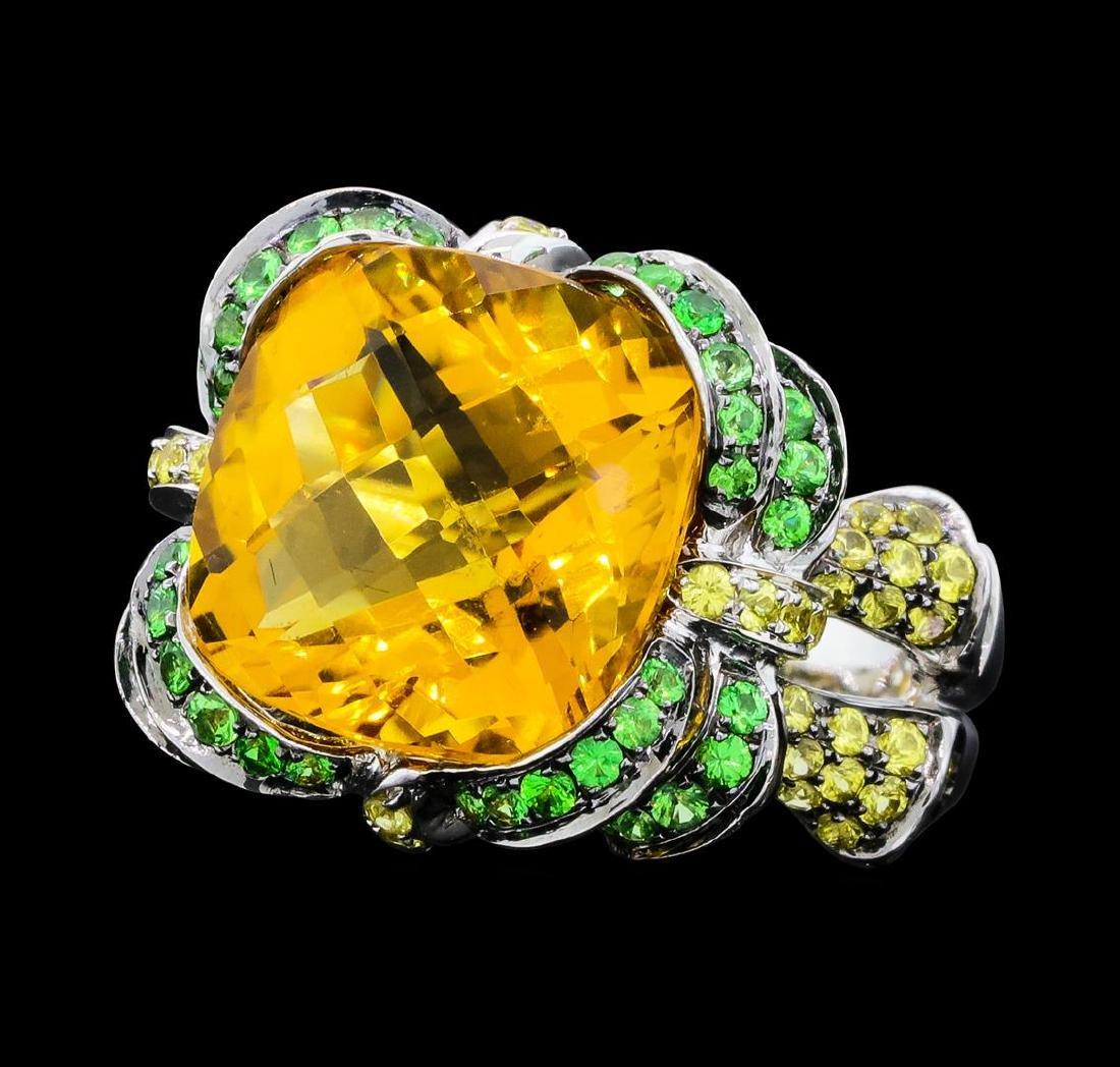 8.75 ctw Citrine, Tsavorite and Lemon Quartz Ring -