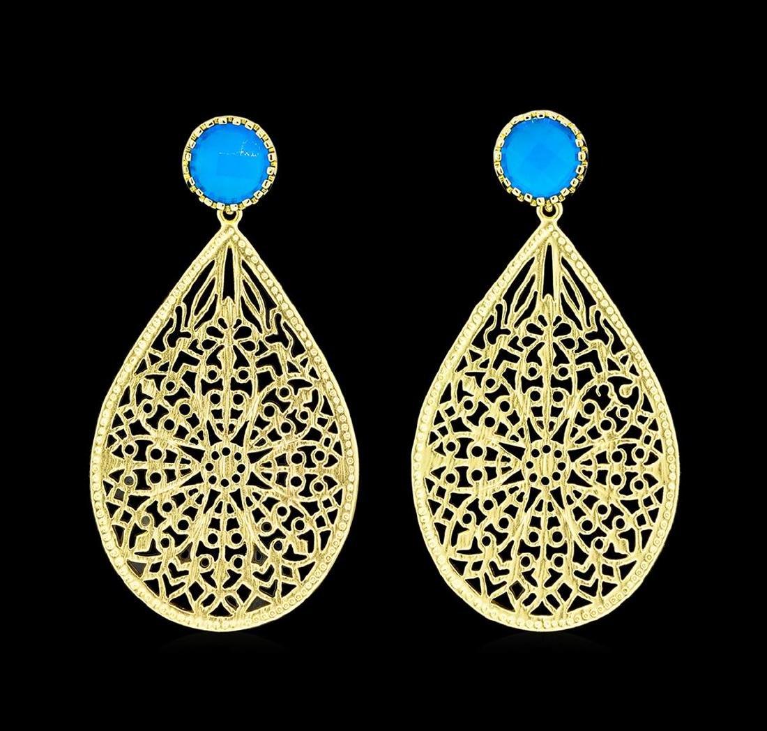 Teardrop Filigree Stone Earrings - Gold Plated