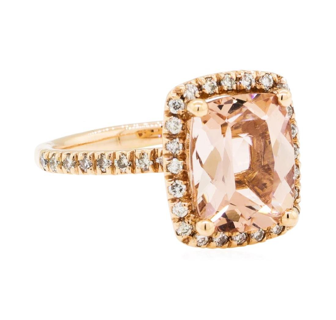 3.06 ctw Morganite and Diamond Ring - 14KT Rose Gold