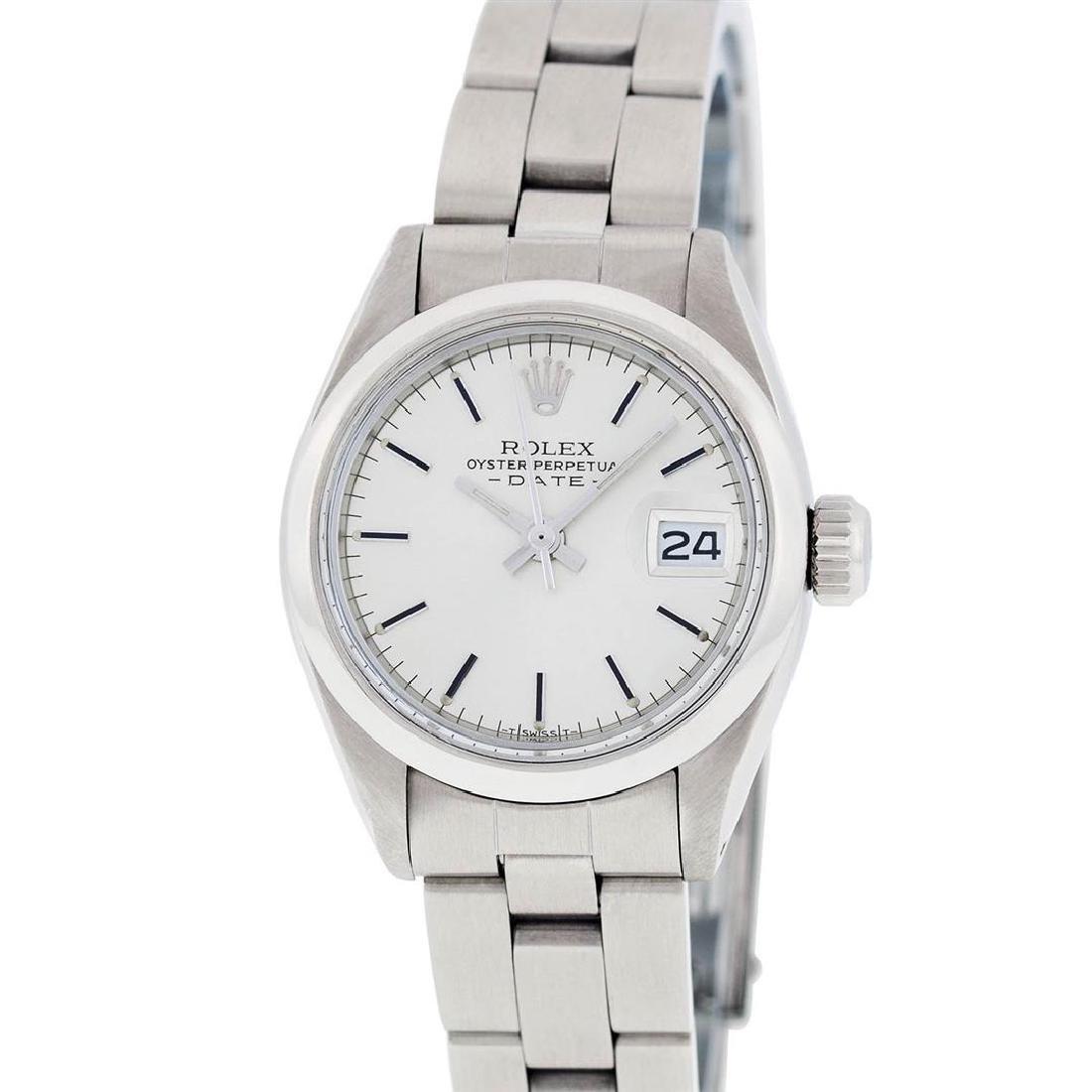 Rolex Ladies Stainless Steel Silver Index Smooth Bezel