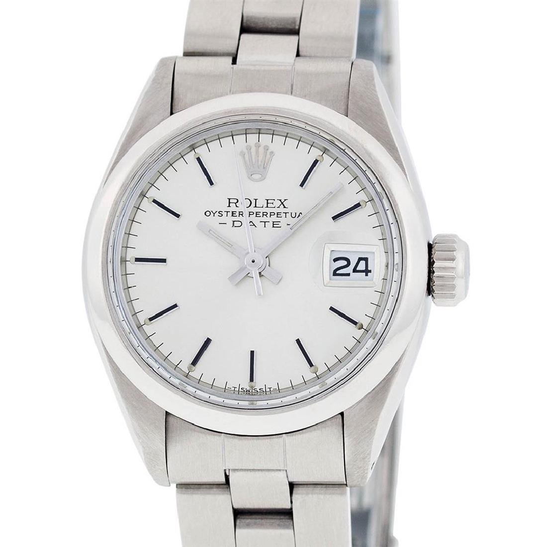 Rolex Ladies Stainless Steel Silver Index Smooth Bezel - 9